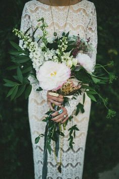"""Gorgeous """"Free Form"""" Bridal Bouquet Features: White/Pink Peonies, Pink Queen Protea, White Tulips, White Snapdragons, Purple Dianthus, + Several Varieties Of Beautiful Emerald Green Foliage^^^^"""