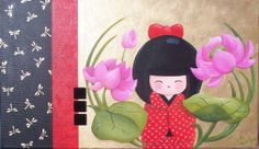 """KOKESHI - """"La naissance de Kimiko"""", peinture acrylique sur toile, 2008 - Myriam Lakraa Créations"""
