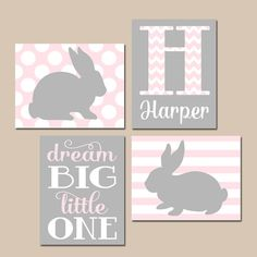 Girl BUNNY Nursery Wall Art Pink Gray Nursery Baby by TRMdesign
