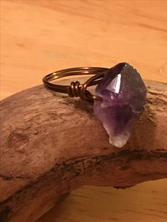 Hand made raw amethyst stone ring in copper wire
