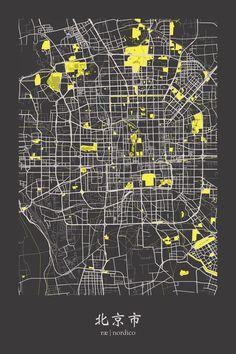 Beijing, China Map Print.  imitate this 'highlight style' for relevant places on your map (i.e - uni campus')
