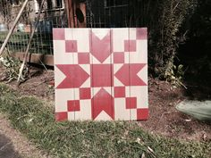 ".My Barn Quilts are made from 1"" x 6"" western red cedar boards (sanded to about 9/16"" x 5-1/2"").  They are hand painted with Acrylic paints and top coated with a UV protected outdoor spar urethane.  Finished size 28""x28"""