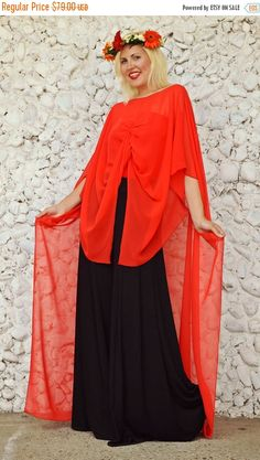 ON SALE 30% OFF Extravagant Red Top / Long Summer Top / by Teyxo