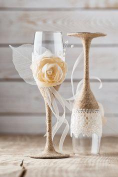 Wedding Toasting Glasses Rustic Toasting por InesesWeddingGallery