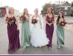 bride and bridesmaids with different color dresses sage eggplant - Google Search