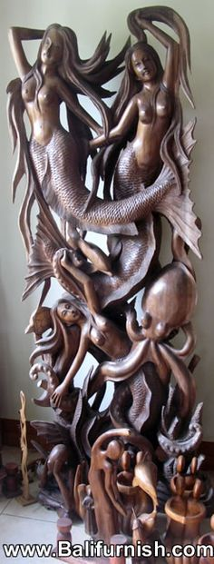 Mermaid carving Bali