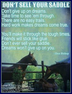Don't ever sell your saddle. Dreams won't give up on you.