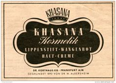 Original-Werbung/Inserat/ Anzeige 1949 - KHASANA KOSMETIK / DR.KORTHAUS FRANKFURT - ca. 105 X 75 mm
