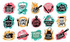 Kitchen badge logos, baking foods typography and cook labels. Chef gourmet food menu logotype, kitchens stamp or cooking quotation. Background Geometric, Food Typography, Sketch Icon, Organic Cooking, Images Vintage, Badge Logo, Logo Food, Fun Cooking, Free Vector Art