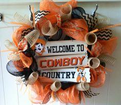 OSU Cowboys with Pistol Pete Decomesh Wreath  by BigMommasDoor, $79.00
