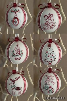 Red and white ❤️ Christmas balls handmade