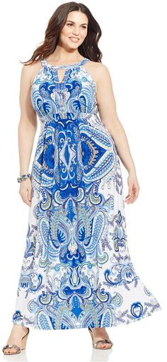 INC International Concepts Plus Size Printed Keyhole Maxi Dress - Dresses - Plus Sizes - Macy's Curvy Fashion, Plus Size Fashion, Girl Fashion, Fashion Outfits, Fashion Trends, Plus Size Girls, Plus Size Women, Plus Size Maxi Dresses, Plus Size Outfits
