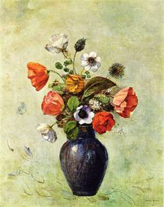 Anemones and Poppies in a Vase - Odilon Redon #flowers #plants #Painting