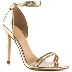 Aldo Women's Elivia - Gold (1.063.945 IDR) ❤ liked on Polyvore featuring shoes, heels, strap shoes, gold heel shoes, gold strap shoes, strappy shoes and stiletto high heel shoes