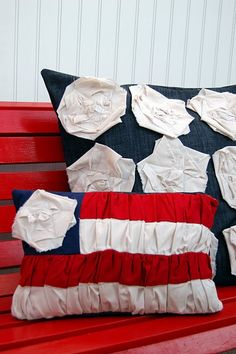 More super cute pillows. I think I might just sew the stripes onto a base fabric, but such a great idea!