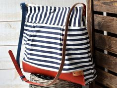 WATER PROOF Best Seller Diaper bag / Messenger bag STOCKHOLM Navy blue white nautical striped  Leather / Featured on The Martha Stewart