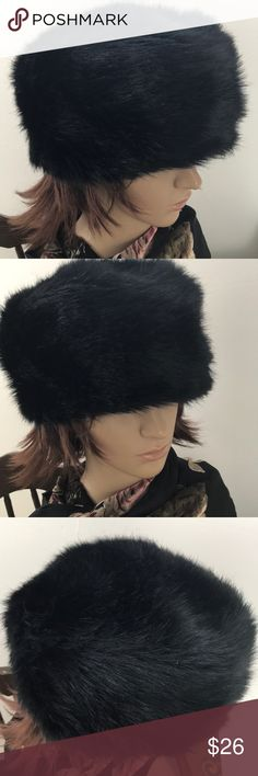 "Vintage faux fur hat made in England Beautifully made faux fur hat. Lined and very clean. 21"" approximately on inside circumference Accessories Hats"