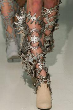 Sculptural Intricacies - metallic laser cut fashion; closeup fashion detail // Threeasfour