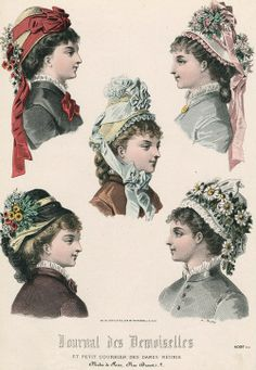 April bonnets, 1877 France, Journal des Demoiselles et Petit Courrier des Dames Réunis. #Victorian #fashion #hats