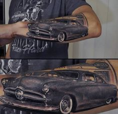 Male With Classic Car Tattoo Body Art
