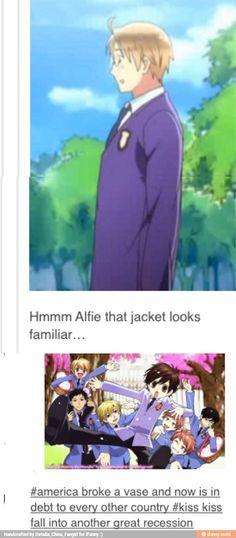 LOL!!! :D Well, I guess a lot of the fangirls like both shows, so it seems legit! ;) #Hetalia #OHSHC