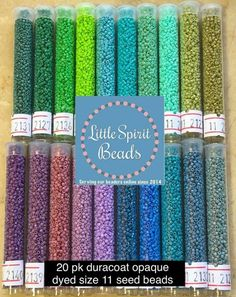 Excited to share this item from my shop: Miyuki delica beads duracoat color set size colors. Seed Bead Patterns, Beaded Jewelry Patterns, Bracelet Patterns, Beading Patterns, Sea Glass Jewelry, Glass Beads, Seed Bead Crafts, Beading Supplies, Beading Tutorials