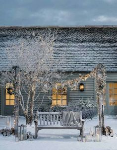 Winter, fairy lights, snow, cottage
