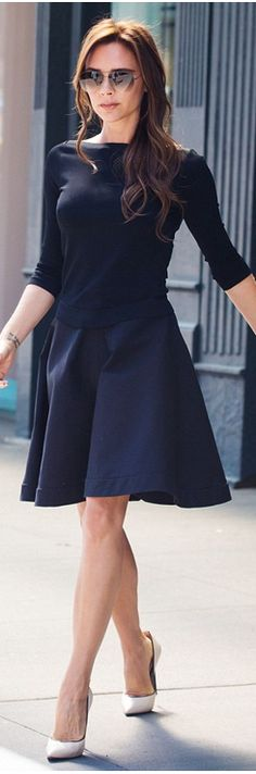 Who made Victoria Beckham's nude pumps, black skirt, and aviator sunglasses that she wore in New York?
