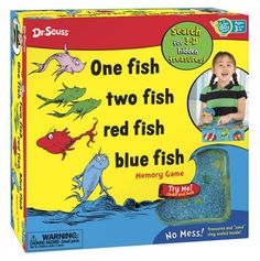 Celebrate the Seuss storybook favorite with this awesome One Fish, Two Fish, Red Fish, Blue Fish matching and seeking game! Pick a card to find out which colorful fish or silly treasure you're hunting for, then spin the spinner and take a peek. From THERE to HERE to NEAR to FAR, players will try to find a match and avoid spinning a wave, which makes the treasures slide and hide in new secret spots. The player who finds the most treasure wins!