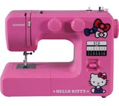 12-Stitch Hello Kitty Easy-to-Use Sewing Machine  >>>   This model has a stitch length of 4.0 mm, and it has a maximum length of 5.0 mm. It comes with a reverse lever and a push and pull bobbin winding.