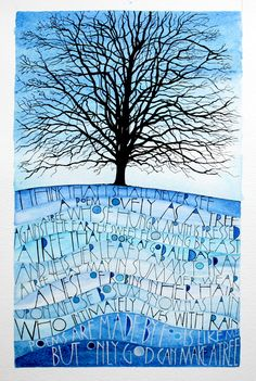 Simple use of blue watercolour to represent the sky. Gives much more life to a drawing of a tree with no leaves...
