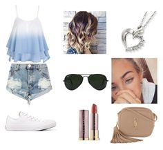 """Faded heart"" by ap-and-kim ❤ liked on Polyvore featuring One Teaspoon, Converse, Yves Saint Laurent, Ray-Ban and Urban Decay"