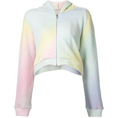 The Elder Statesman Cropped Rainbow Hoodie (19.170 UYU) ❤ liked on Polyvore featuring tops, hoodies, jackets, outerwear, shirts, cropped hooded sweatshirt, white hooded sweatshirt, sweatshirt hoodies, hoodie shirt and rainbow shirt