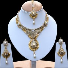 IKJ127 Indian Fashion Jewelry CZ Pearls Sari Bridal Kundan Necklace Earring Set | eBay