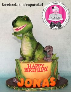 I made this for a little boy who loves dinosaurs, the dinosaur is a topper made with Rice Krispies and fondant :)