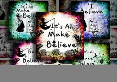 digital collage sheet 3 inch squares printable digital download craft images with words make believe I believe