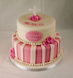 Baby pink Christening cake, stripes, pearls and flowers