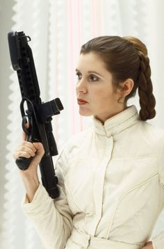 leia, star wars, 1970's, girl in white, sci-fi girl, girl power, 70's, girl with gun, 1970s, science fiction, retro-futuristic, 70s