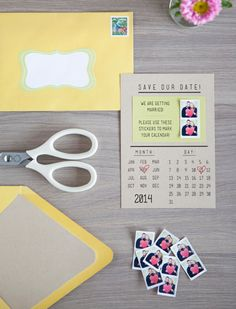 DIY Instagram Stickers: How cute! Your guests can put these little stickers of you two on their calendar. (via Something Turquoise)  How cool yes people will do this! Rae