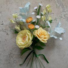 Yellow Crepe Paper Bouquet: Peony, Tea Rose, Ranunculus, Sweet Pea, Aster Flower…