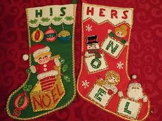Vintage Handmade Sequin Felt Christmas Stockings Hand Sequin and Embroidery | eBay