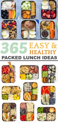 365 Easy lunch ideas, one for every day of the year! Great lunch ideas for kids and work lunch ideas for adults too! #easylunch #lunchboxideas #lunchbox #bentolunch #squirrelsofafeather #healthylunch
