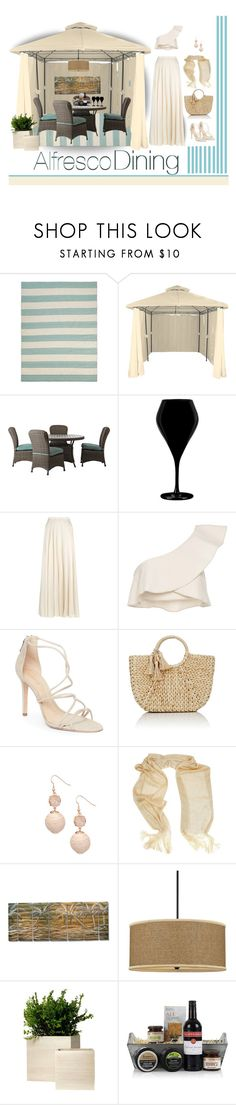 """Alfresco Dining"" by outfitsloveyou ❤ liked on Polyvore featuring Home Decorators Collection, Qualia, Lanvin, Isabel Marant, Schutz, Buji Baja and Quoizel"