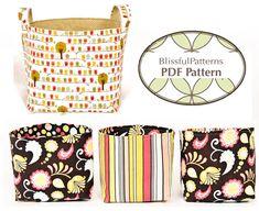 Easy to Sew Fabric Bin PDF Sewing Pattern  two door BLISSFULpatterns, $8.75