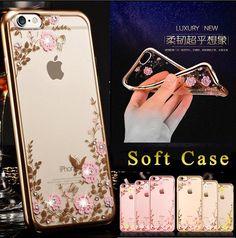 Flora Diamond Case for Apple iPhone 5s SE 6 / 6S / 6 Plus /6S Plus Case Chic Flower Bling Soft TPU Clear Phone Back Cover Fundas