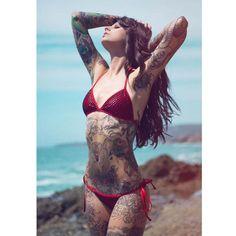 Angela Mazzanti is so gorgeous. #inked #ink #tattooed #model #bikini #sexy