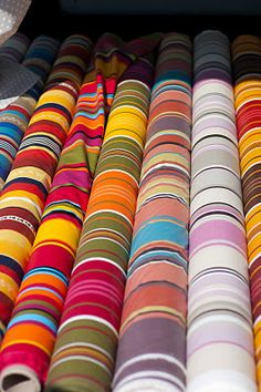 bolts of basque striped fabric from provence.