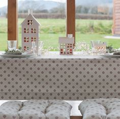 Cottage in the Hills Garden Green Grey Table Cloth at Notonhighstreet