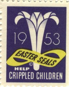 1953 Easter Lily Seal--Help Crippled Children #EasterSealsFL