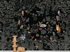Carta da parati panoramica in carta non tessuta FORÈT NOIRE by Moustache design Nathalie Lété